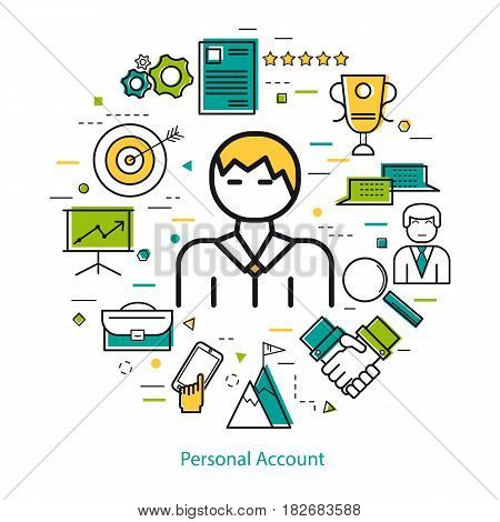 Vector round linear of personal account concept. Contour of a man in the center and various business line icons