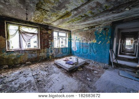 Interior of abandoned hospital in former Soviet military town Skrunda-1 in Latvia