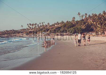 Goa, India - March 4: Family Are Walking At Little Vagator Beach On March 4, 2017, Goa, India