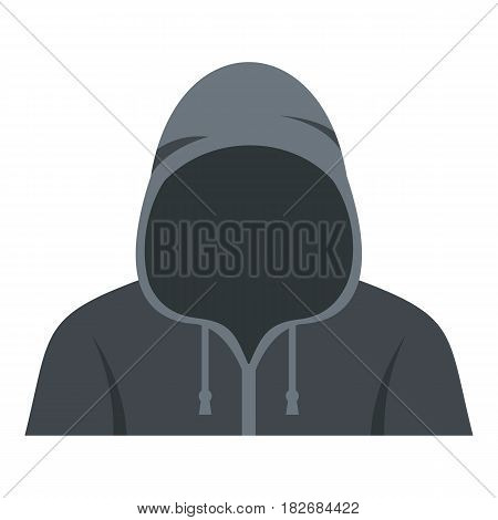 Figure in a hoodie icon flat isolated on white background vector illustration