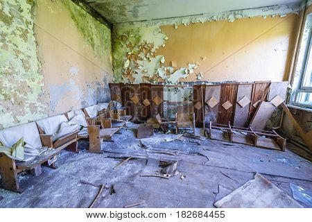Interior of officers club in Skrunda Soviet military ghost town in Lativa