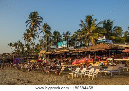 Goa, India - March 4: Restaurants At Little Vagator Beach On March 4, 2017, Goa, India