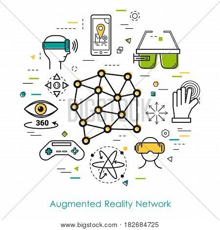 Vector concept of Augmented Reality Network. Innovations technology in thin line style. Internet systems and other online entertainment icons. Modern round web banner