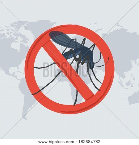 Vector illustration of danger from a insect bite. Mosquito in the prohibitory sign on map of the world in flat style