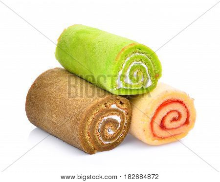 Jam roll mini isolated on white background