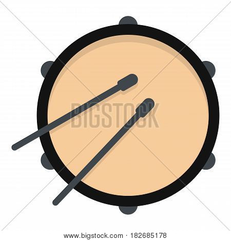 Drum icon flat isolated on white background vector illustration