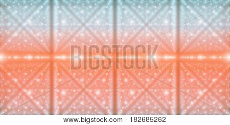 Vector infinite space background. Matrix of glowing stars with illusion of depth and perspective. Geometric backdrop with point array as lattice nodes. Abstract futuristic colorful universe background
