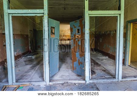 Interior of barrack in Skrunda ghost town former USSR military base in Lativa