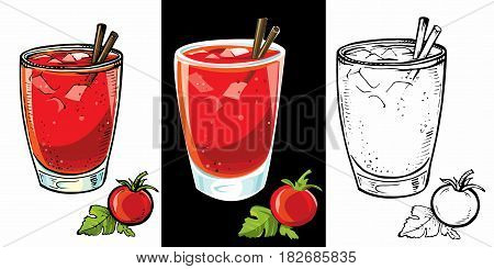 Set of Bloody Mary cocktails, low-alcohol drink. Vector hand drawn sketch illustration with glasses of bloody mary, tomato juice