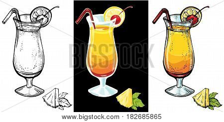 Tequila sunrise realistic cocktail.Vector hand drawn sketch illustration of cocktail glass