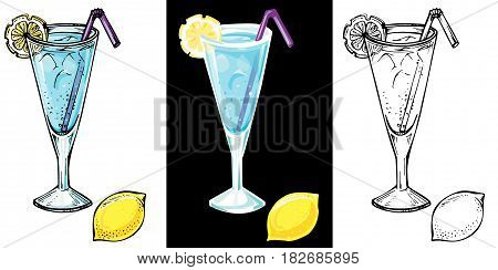Blue Lagoon cocktail with a lemon slice and ice. Hand drawn vector illustration.
