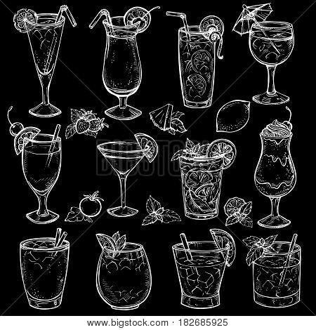 Sketch cocktails, alcohol drinks set. Hand drawn vector illustration. Martini, bloody mary, margarita, tequila, cosmopolitan, mojito, pina colada, whiskey, margarita, juice, milk shake and other