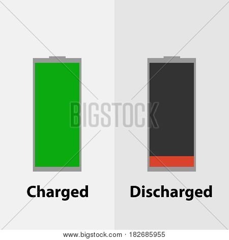 Charged and discharged battery. Flat design vector illustration vector.