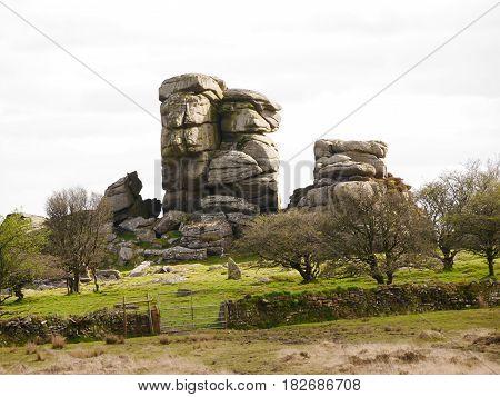 Vixen Tor rocks on Dartmoor, Devon, England