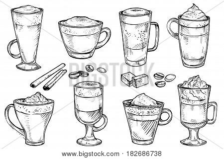 Sketch set of Coffee kind menu drinking cup. Vector hand drawing illustration isolated on white background. Espresso, cappuccino, glace, latte, irish, mocha, coffee dessert
