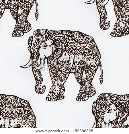 Seamless illustration of an elephant henna on white background.