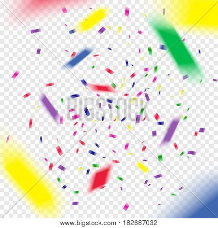 Multicolored paper 3d confetti on transparent background. Realistic holiday decorations flying. Empty space for text. Background for holiday cards, greetings. Colorful flying falling the elements of decoration of the celebration.