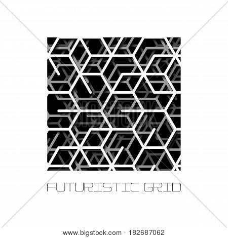 Abstract square shape with layered lines grid and shadow