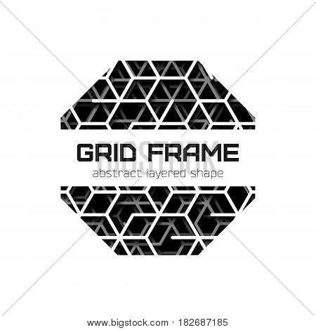 Abstract octagon frame with layered lines grid and shadow