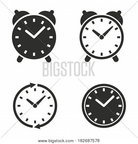 Clock vector icons set. Black illustration isolated for graphic and web design.