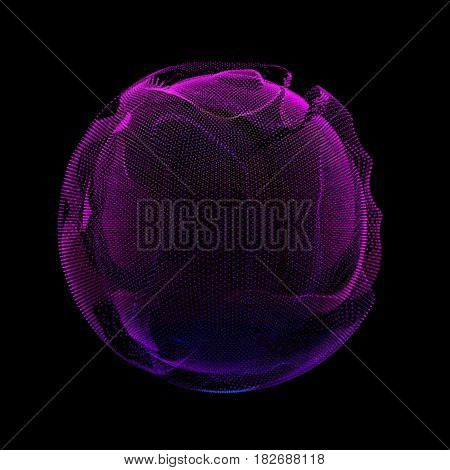 Abstract vector violet colorful mesh sphere on dark background. Futuristic style card. Elegant background for business presentations. Corrupted point sphere. Chaos aesthetics.