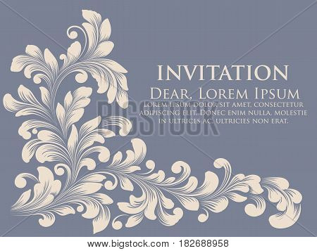Wedding invitation card. Vector invitation card with elegant text and floral ornament. Hand drawn floral element with leaves and flowers. Exquisite invitation or wedding card for you.