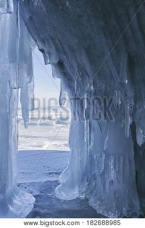 Ice Cave (grotto), Borga-dagan Island. Winter Landscape