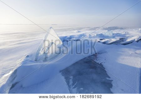 Transparent Ice Floe. Winter Landscape. Baikal Lake