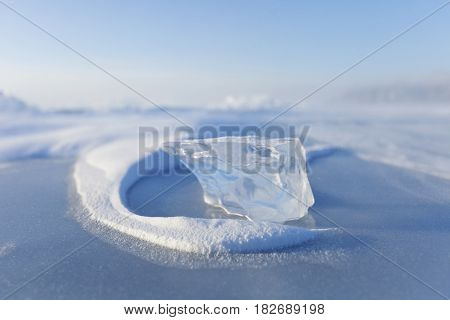 Ice floe of Baikal lake. Winter nature