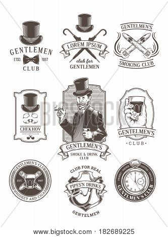 Set of vintage gentleman emblems, labels, icons, signage and design elements. Engraving style.