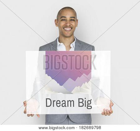 Businessman high dream big