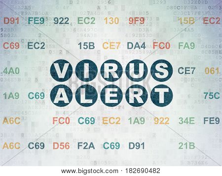 Safety concept: Painted blue text Virus Alert on Digital Data Paper background with Hexadecimal Code