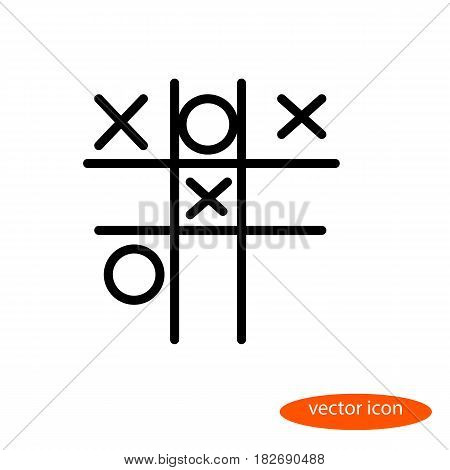Simple vector linear image of a child street play crosses - zeros line icon flat style.