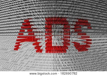 ADS in the form of binary code, 3D illustration