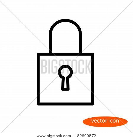 A simple vector linear image of a closed padlock with a key hole a line icon a flat style.