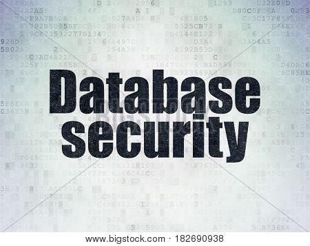 Safety concept: Painted black word Database Security on Digital Data Paper background