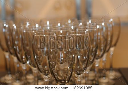 sparkling shiny glossy brilliant & impressive crystal cups in formation