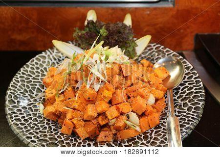 sweet potato salad colorfull sparkling serving dish