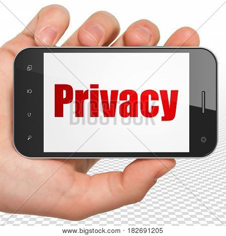 Protection concept: Hand Holding Smartphone with red text Privacy on display, 3D rendering