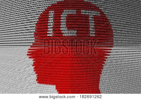 ICT head in the form of binary code, 3D illustration