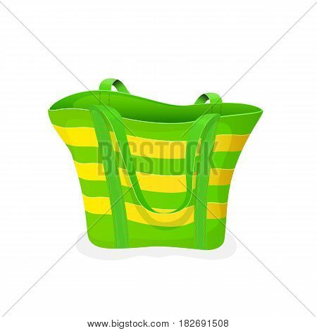 Striped green-and-yellow bag, empty beach bag isolated on white background, illustration.