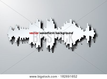 Paper silhouette of sound waveform sign with shadow