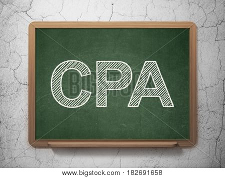 Business concept: text CPA on Green chalkboard on grunge wall background, 3D rendering