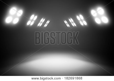 The light from the row of windows on the wall illuminates the dark background. Template for your design. 3d illustration