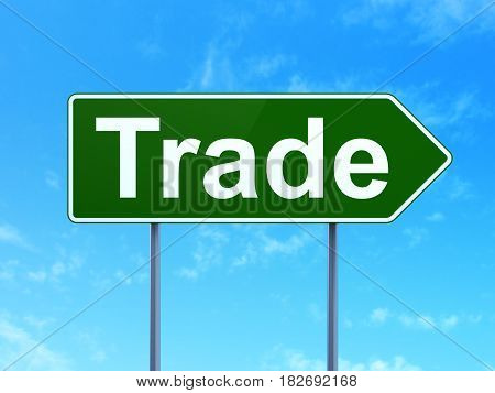 Finance concept: Trade on green road highway sign, clear blue sky background, 3D rendering
