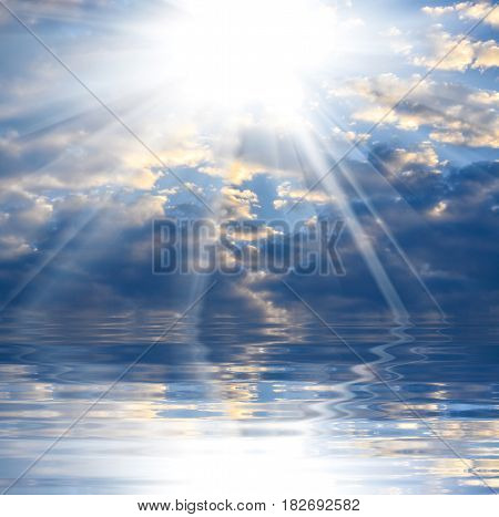 Beautiful Blue Sky With Bright Sun Light From Heaven And Reflection