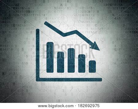 Finance concept: Painted blue Decline Graph icon on Digital Data Paper background with Scheme Of Binary Code