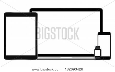 Responsive multi devices mockup set comprising laptop with black tablet pc, mobile smartphone and smartwatch. Isolated on white background. Technology mockup for responsive design presentation.