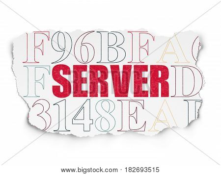 Web design concept: Painted red text Server on Torn Paper background with  Hexadecimal Code