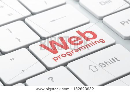 Web development concept: computer keyboard with word Web Programming, selected focus on enter button background, 3D rendering